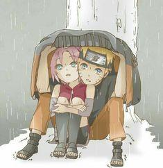 Naruto 🍥: Naruto & Sakura huddle together to take shelter against the elements Naruto Uzumaki Shippuden, Naruto And Sasuke, Anime Naruto, Naruto Cute, Sakura And Sasuke, Kakashi, Hinata, Naruto Fan Art, Naruto Couples