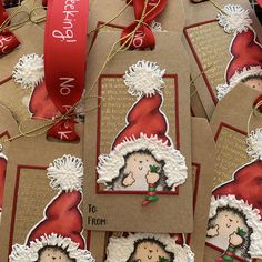 Gift tag made with stamps and dies from Penny Black, My Favorite Things and Concord & 9th. Christmas Gift Tags, Christmas Stockings, White Gouache, Swing Card, Cute Hedgehog, Interactive Cards, Pop Up Cards, Blooming Flowers, Penny Black