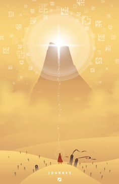 """This is a tribute poster for the game """"Journey"""" created by thatgamecompany. -This piece is digitally printed on fine semi-matte photo paper. Illustration Photo, Illustrations, Mountain Illustration, Games Journey, Game Wallpaper Iphone, Street Art, Fantasy, Video Game Art, Game Design"""