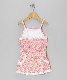 Look at this #zulilyfind! Coral & White Ruffle Romper - Girls by Trish Scully Child #zulilyfinds