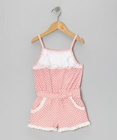 Another great find on #zulily! Coral & White Ruffle Romper - Toddler & Girls #zulilyfinds