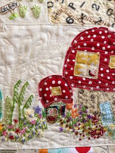 gnome mushroom house village table runner by calamity kim, via Flickr
