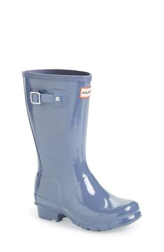 Hunter 'Original Gloss' Rain Boot (Little Kid & Big Kid) in Mineral Blue available at #Nordstrom