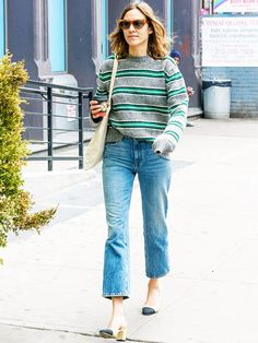 Alexa Chung Style: Wearing her favourite Prada men's jumper in New York Prada Men, Fashion Line, Girl Fashion, Tokyo Fashion, Alexa Chung Style, Hottest Photos, Cool Girl, Mom Jeans, Denim Jeans