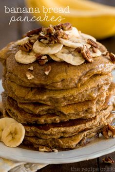 Banana Bread Pancakes | The Recipe Critic This was dinner last night. Sooo tasty! Definitely make the maple glaze! Banana Nut Pancakes, Fluffy Pancakes, Tasty Pancakes, Pancakes And Waffles, Banana Bread, Breakfast Dishes, Breakfast Pancakes, Breakfast Recipes, Brunch Dishes