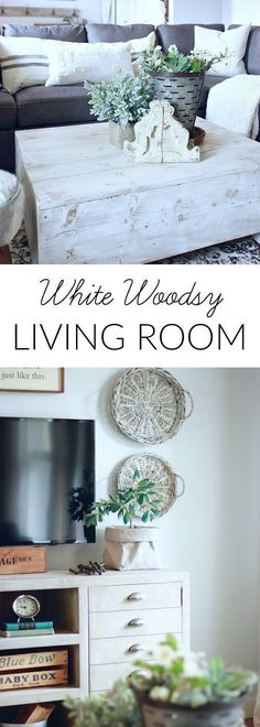 Our White Woodsy Living Room.. Get the sources for all of our decor and furniture and how I created the look. Farmhouse Living Room, Modern Farmhouse www.theruggedrooster.com
