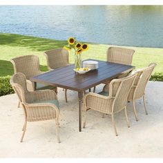 Hampton Bay Lemon Grove 7-Piece Wicker Outdoor Dining Set with Surplus Cushion-D11230-7PC - The Home Depot