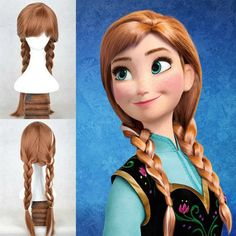 Disney Frozen Anna Princess Adult Ponytail Wig Hair for Halloween Cosplay Party  #CosplayParty