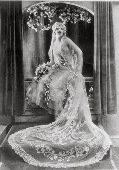 Modeling a wedding dress - c. 1927 - Photo by Webster & Stevens - Museum of History & Industry, Seattle - @~ Mlle