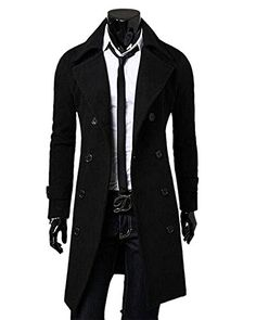 MK988 Mens Winter Fit Tailored Collar Thicken Wool Blend Single Breasted Trench Coats