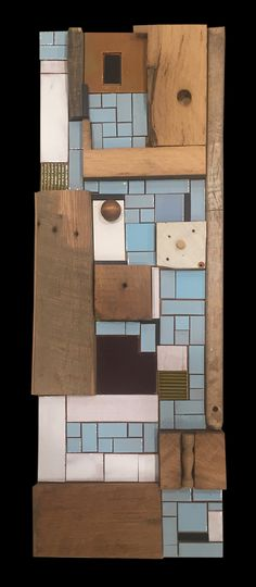 Blue Wood One 1' x 3'. StaciaGoodmanMosaics.com