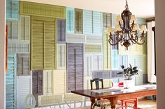 Shudders, painted in your house color pallet, add serious DIY design fancy to any room. I'm totally smitten with this Anthropologie-inspired creation.