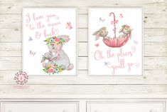 Umbrella Bunnies Oh The Places You'll Go Boho Nursery Wall Art Print Love You To The Moon And Back Baby Girl Room Watercolor Bunny Rabbit Printable Decor
