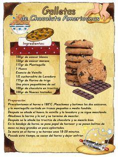 Tartas, Galletas Decoradas y Cupcakes: Cookies con Chips de Chocolate Easy Cookie Recipes, Sweet Recipes, Dessert Recipes, Tea Cakes, Biscotti, Choco Chips, Food Illustrations, Cakes And More, Cupcake Cookies