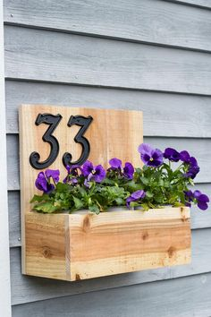 Address Planter Box with House Numbers Balcony Planters, Window Planters, Wooden Planters, Diy Planters, Hanging Planters, Cedar Planter Box, Diy Planter Box, Window Box Flowers, Flower Boxes