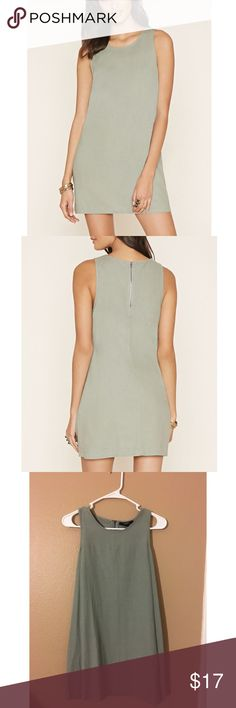 Linen-blend Shift Dress (Forever 21) Sage linen-blend shift dress made by F21 Size: Small 55% Linen 45% Rayon New with tags Never worn Forever 21 Dresses Mini