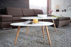 Sie lieben Retro-Design und möchten deine Möbel von der Stange? Entdecken Sie diesen nierenförmigen Retro-Couchtisch in weiß und natürlicher Buche!