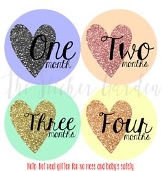 Monthly Onesie Stickers Baby Girl Month by Month Sticker Baby Shower Gift First Year Belly Stickers 12 Months Gold Glitter Hearts Milestone on Etsy, $11.00