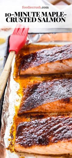 Maple-Crusted Salmon In this maple glazed salmon a spicy sweet rub tops salmon fillets that are broiled then drizzled with maple syrup to create a caramelized crust for a healthy easy dinner ready in under 10 minutes Seared Salmon Recipes, Healthy Salmon Recipes, Sushi Recipes, Baked Salmon, Salmon Recipes Stove Top, Grilling Recipes, Drink Recipes, Cake Recipes, Vegetarian Recipes