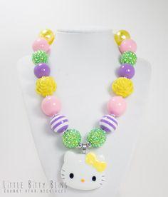Hello Kitty Chunky Necklace, Chunky Bead Necklace, Chunky Necklace, Bubblegum Bead Necklace, Chunky Bead Necklace, Hello Kitty Pendant on Etsy, $20.00