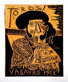 Picasso Linocut / Linoleum Cut Signed, Toros Vallauris, 1958