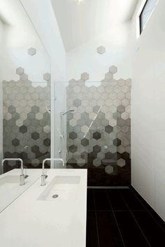 Alphington Townhouses by Green Sheep Collective 12 Bathroom Images, Modern Bathroom, Small Bathroom, Bathroom Design Inspiration, Bathroom Interior Design, Hexagon Tile Bathroom, Tile Bathrooms, Hexagon Tiles, Beautiful Bathrooms