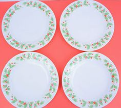 """China Pearl """"Noel"""" Fine Dinner Plates Brown Backstamp Christmas Holly Gold White"""