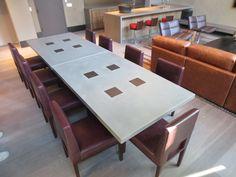 Custom concrete table designed by Clodagh Design - fabricated by Trueform Concrete