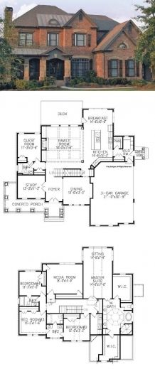 Traditional House Plan with 3962 Square Feet and 5 Bedrooms from Dream Home Sour. - Traditional House Plan with 3962 Square Feet and 5 Bedrooms from Dream Home Source Dream House Plans, House Floor Plans, My Dream Home, Dream Homes, Floor Plans 2 Story, House Plans 2 Story, Br House, Cottage House, Story House
