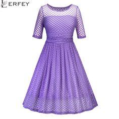 LERFEY Women Dot Polka Lace Dress Vintage A Line Patchwork Pleated Retro  Casaul Rockabilly Party Mesh f5fab73326ed