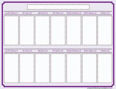 Blank Weekly Calendars Printable | Activity Shelter | Calendar ...
