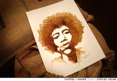 Jimi Hendrix - Coffee Painting by Fast_Icon, via Flickr    coffeeretreat.com