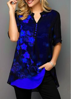 Floral Print Half Sleeve Blue Vintage Shirt Tunic Top for Women Split Neck Button Detail Blossom Print Blouse Trendy Tops For Women, Blouses For Women, Women's Blouses, Stylish Tops, Vintage Shirts, Vintage Outfits, Look Fashion, Trendy Fashion, Printed Blouse