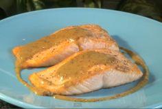 Slow Roasted Salmon With Sweet Mustard Sauce #RoastedSalmon #SweetMustardSauce