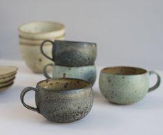 ceramic 호 cups tass pottery kitchen cuisine Pottery Mugs, Ceramic Pottery, Ceramic Cups, Ceramic Art, Earthenware, Stoneware, Keramik Design, Vintage Tupperware, Pottery Classes