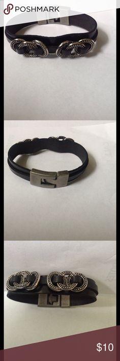 Black faux leather bracelet Black faux leather bracelet with silver ring accent Jewelry Bracelets