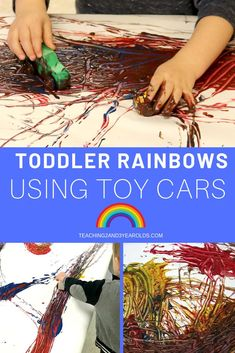 Looking for a super easy and fun toddler rainbow activity? Grab those toy cars and drive them through puddles of paint, making a rainbow on sheets of paper. A fun action art idea! Science Activities For Toddlers, Preschool Color Activities, Rainbow Activities, Activities For 2 Year Olds, Spring Activities, Hands On Activities, Preschool Art, Stem Activities, Learning Activities