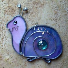 Stained Glass Suncatcher Pink and Purple Snail Stained by GlassCat