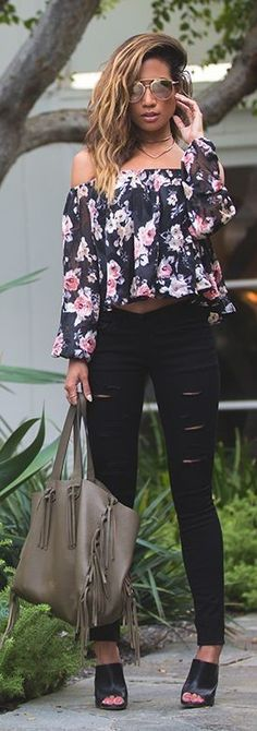 My White T Floral Off Shoulder Top Fall Inspo