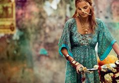 Paisley teal maxi dress with gold folkloric jewelry. Bohemian comfort, youth, beauty, free spirit (Monsoon 2009 Spring/Summer)