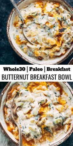 This savory keto breakfast bowl is made with butternut squash, chicken sausage, and sage cream sauce. Dairy free and paleo breakfast idea for busy families and individuals who are looking for a healthy breakfast packed with protein, nutrients, and flavor! Paleo Whole 30, Whole 30 Recipes, Whole 30 Chicken Recipes, Whole 30 Soup, Chicken Sausage Recipes, Healthy Recipes, Cooking Recipes, Healthy Breakfasts, Beef Recipes