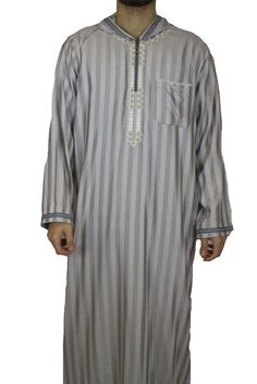 Muslim Men Clothing, Suit And Tie, Shoulder Sleeve, Grey Stripes, Hoods, Menswear, Tunic Tops, Sweatpants, Style Inspiration