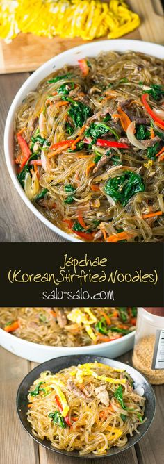 Japchae (Korean Stir-fried Noodles) - Salu Salo Recipes - Eat me! Korean Noodles, Stir Fry Noodles, Japchae Noodles, Fried Noodles Recipe, Recipes With Vermicelli Noodles, Korean Sweet Potato Noodles, Ramen Noodles, Korean Dishes, Sem Lactose