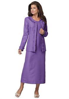 Plus Size Ruffle Detail Jacket Dress image