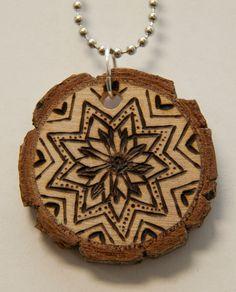 Mandala 11. $18.00, via Etsy. pyrography, wood burned necklace, handmade