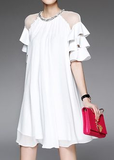 White Layered Bell Sleeve Mesh Patchwork Dress, new arrival, free shipping worldwide at rosewe.com.