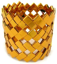Large gold foil bracelet made out of candy wrappers