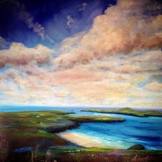 'On top of the World' #painting #SarahJaneBrown #Pembrokeshire #sky #clouds #landscape #love #Artoftheday #loveart #art #artist #sea #seascape #beach #wales #coast