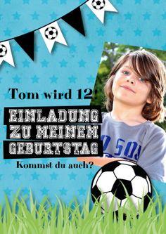 Fröhliche Einladungskarte zum 12. Geburtstag für echte Fußballfans zur Fußball-Party