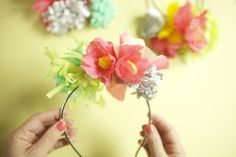 Crepe paper flower/ floral party hats